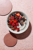 Baked muesli with almond quark and berries