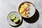 Coconut and lime quark with pineapple