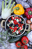 Ingredients for Greek style vegetarian stir-fry in a pot