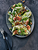 Iceberg lettuce with figs and blue cheese dressing