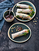 Summer rolls with glass noodles, vegetables and peanuts