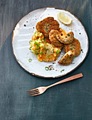 Oyster mushroom escalope with mashed carrots and potatoes