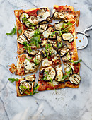 Pizza with grilled aubergine, capers and buffalo mozzarella