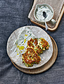 Courgette fritters with spring onion quark