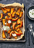 Oven-roasted pumpkin with sheep's cream cheese