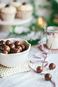 Chocolate balls in bowl