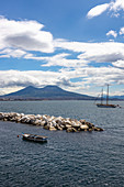 A view of Mount Vesuvio seen from Lungomare Santa Lucia