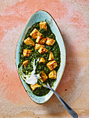 Palak paneer with spinach