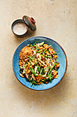 Indonesian lentil salad with shiitake mushrooms, cucumber and bean sprouts