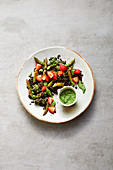 Asparagus and lentil salad with strawberry and a herb dressing