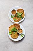 Vegan mung bean pancakes with vegetables and a ginger dip