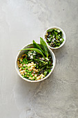 Vegan pea risotto with wild garlic and pumpkin seed gremolata