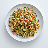 Fusilli with romanesco broccoli and red peppers