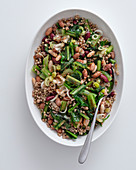 Buckwheat salad with beans and spring onions