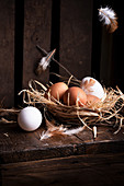 White and brown chicken eggs in straw nest