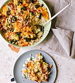 Rice bake with broccoli, tuna and cheese