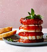 Tomato mozzarella towers