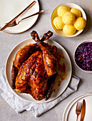 Turkey with red cabbage and potato dumplings