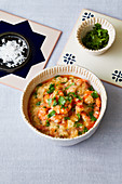 Portuguese bread soup with prawns and white port wine