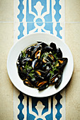 Mussels in a white wine sauce with dill