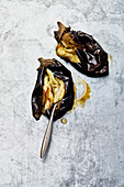 Grilled aubergines for babaganoush