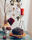 Festive Cherry Fruit Cake with Frozen Cherries as decoration