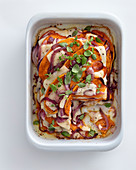 Sweet potato gratin with red onions and Provolone cheese