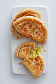 Pastries filled with Gruyère and leek