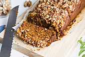 Pumpkin bread on wooden chopping board