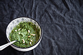 Green pesto with pine nuts in ceramic bowl