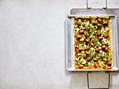 Courgette puff pastry tart with falafel and hummus