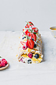 Lemon Curd Berry Meringue Roulade