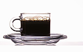 Black coffee in a glass cup