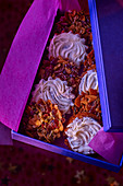 Florentines with white chocolate in a gift box