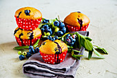 Wild blueberry muffins with fresh berries
