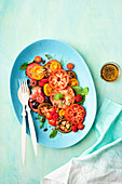 A colourful tomato salad with a vanilla vinaigrette