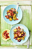Warm potato salad with sage and bacon
