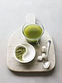 Matcha green tea with sugar