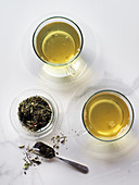 Green tea in clear cups