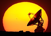 Spacecraft tracking antenna and sunset