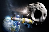 Asteroid defence spacecraft, illustration