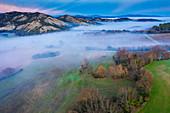 Fog over farmland, aerial view