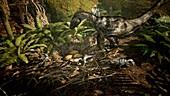 Dromaeosaurus nest with hatchlings, illustration