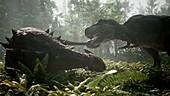 T-rex fighting ankylosaur, illustration