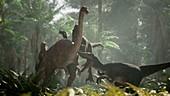 Raptor pack hunting ornithomimus, illustration