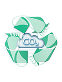 Carbon cloud with recycling symbol, illustration