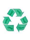 Recycling symbol with footprints, illustration