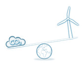 Scales with carbon cloud and wind turbine, illustration