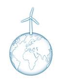 Earth with wind turbine generator, illustration