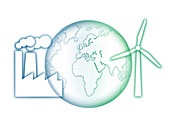 Earth with power station and wind turbine, illustration